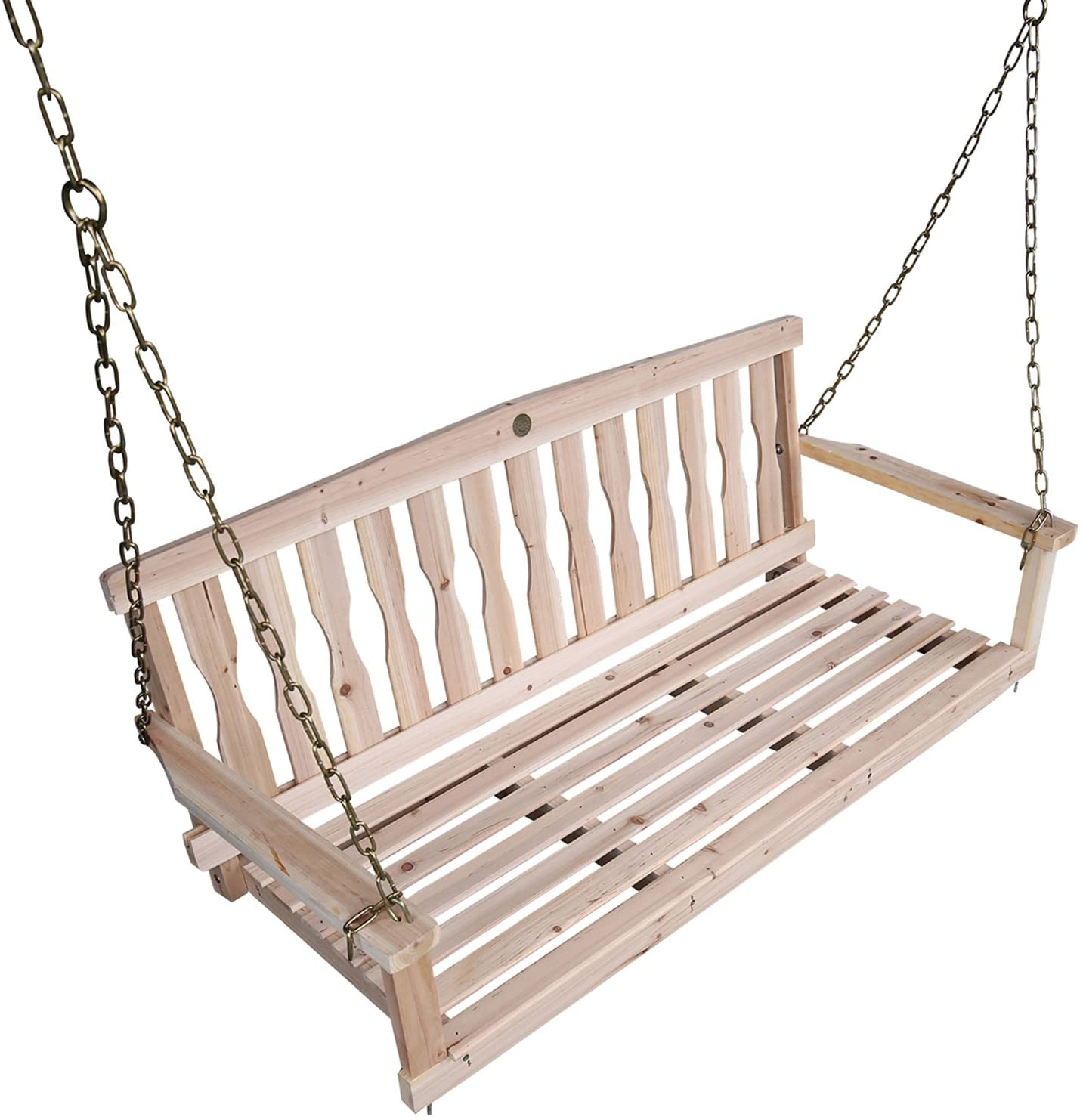 SONGSEN OUTDOOR UNFINISHED 4FT WOODEN PORCH SWING CHAIR