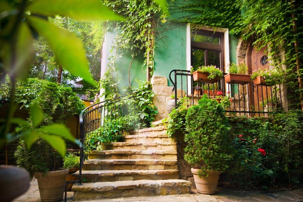 STONE STEPS LEADING TO A VINE COVERED PORCH GARDEN IDEAS