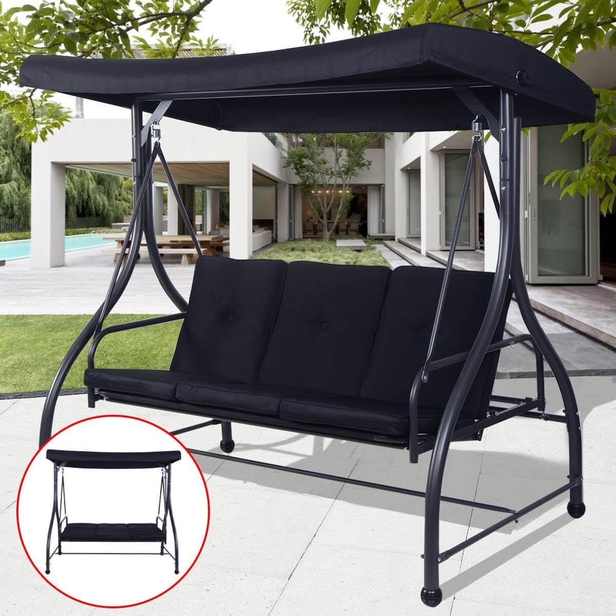 TANGKULA CONVERTING OUTDOOR SWING PATIO PORCH GARDEN SWING COMFORTABLE CUSHION SEATS WITH CANOPY