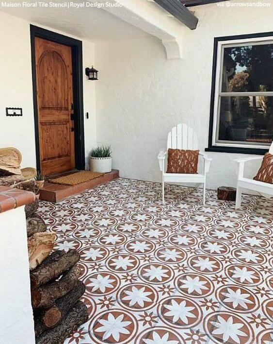 BROWN AND WHITE IN PATTERN PORCH FLOOR PAINT COLOR IDEAS