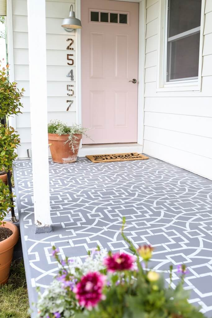 GREY AND WHITE STENCIL PORCH FLOOR PAINT COLOR IDEAS
