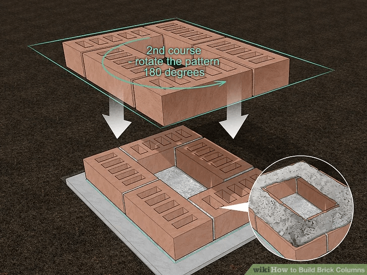 BUILD BRICK PORCH COLUMN STEP BY STEP LAY THE SECOND LEVEL OF THE BRICKS
