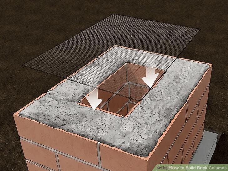PORCH COLUMN BRICK BUILDING STEP BY STEP PUT WIRE
