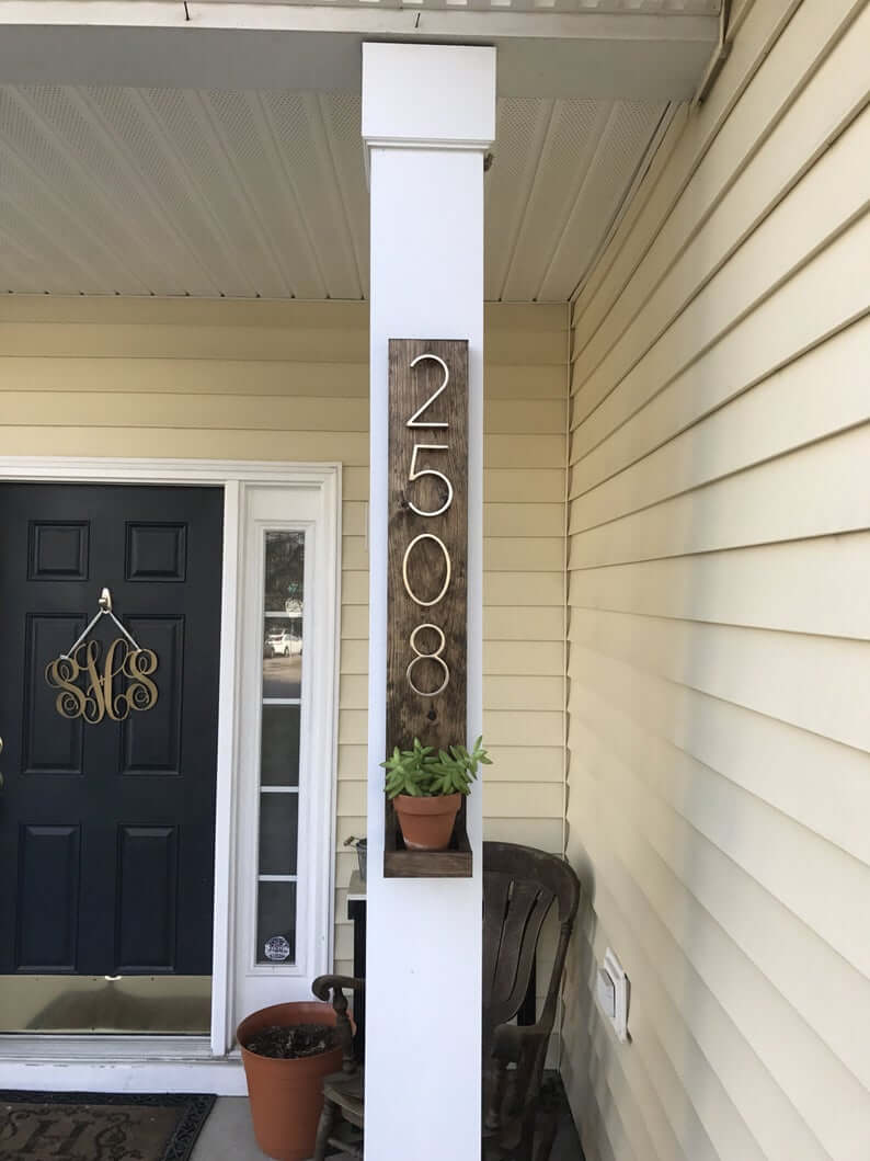 PORCH COLUMN MAKEOVER IDEAS WITH ADD HOUSE SIGN AND PLANTERS