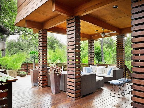 WOOD COLUMN PORCH OF PLANKS