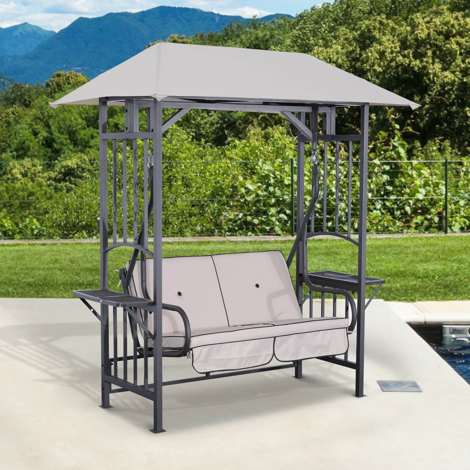2 PERSON PATIO SWING WITH CANOPY METAL FRAME