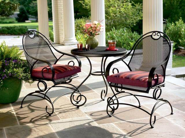 ARMCHAIR AND CUSHIONS WROUGHT IRON PATIO FURNITURE IDEAS