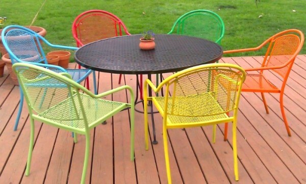 COLORFUL PAINTED WROUGHT IRON PATIO FURNITURE