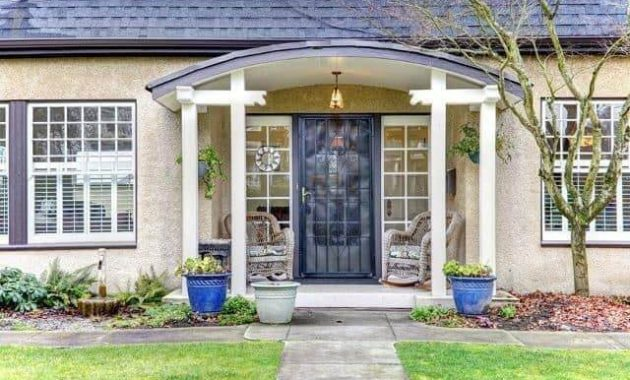 CONTRASTED AND FRAMED DOORWAY FOR SMALL FRONT PORCH ADDITION IDEAS
