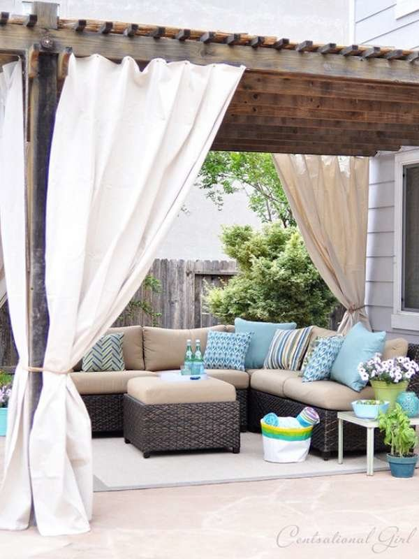 DIY PORCH AWNING DESIGN IDEAS WITH OUTDOOR CURTAINS