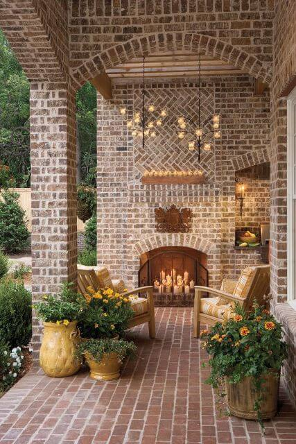 FRONT PORCH ADDITION IDEAS WITH FIREPLACE AND SOME LIGHTING