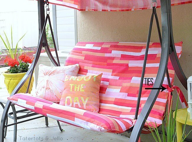 MAKEOVER IDEAS PATIO SWING WITH CANOPY CHANGE FABRIC