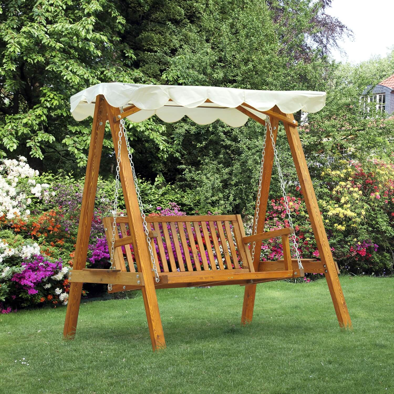 REPAINTING WOODEN PATIO SWING WITH CANOPY MAKEOVER IDEAS