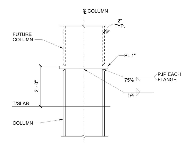 THE COLUMN PLAN FOR PORCH WITH A ROOFTOP DECK