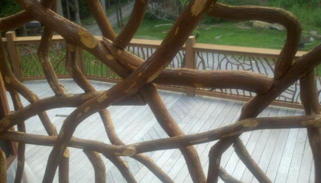 CABIN INSPIRED BRANCHES FRONT PORCH RAILING IDEAS