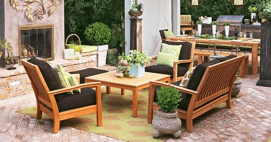 DEEP SEAT PATIO CUSHIONS AND WOODEN TABLE CHAIR SETS