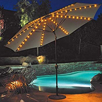 PATIO SET IDEAS WITH LIGHT THE UMBRELLA ON