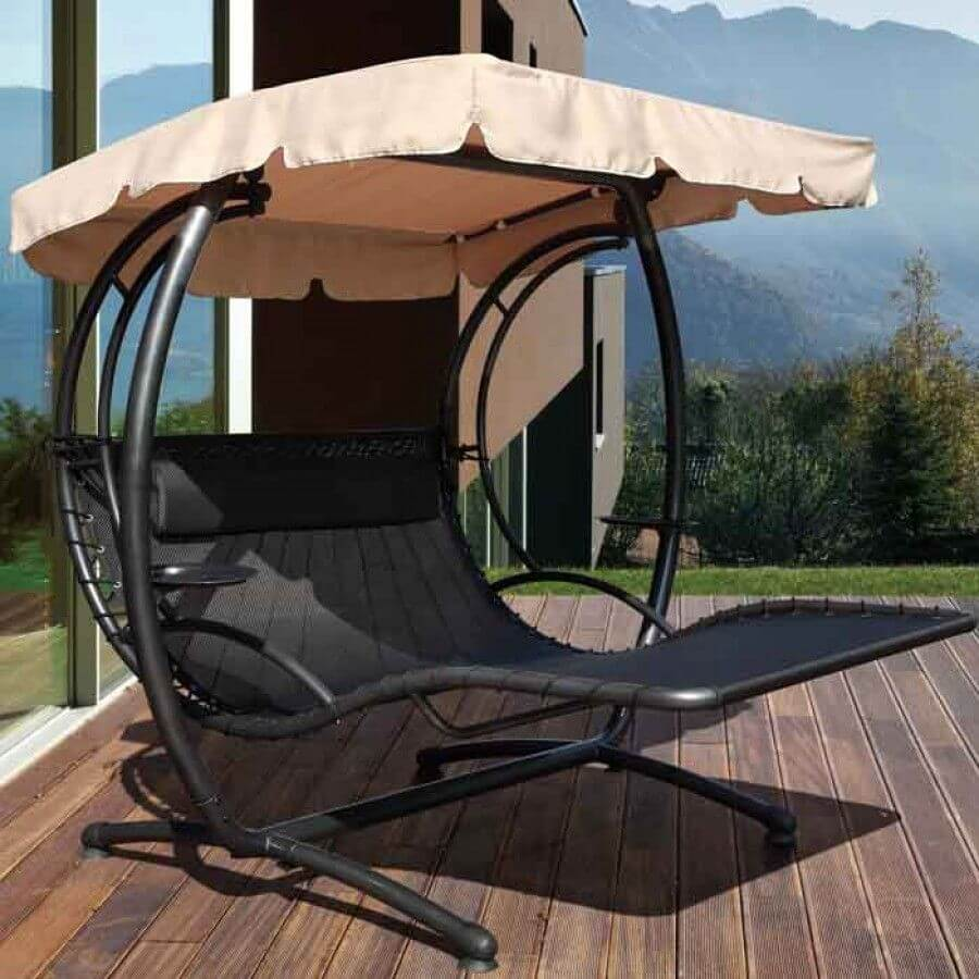 PATIO SET WITH SWING UNDER UMBRELLA
