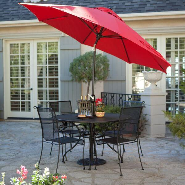 PATIO SET WITH TILT THE UMBRELLA AND PAXTON WROUGHT IRON DINING SET IDEAS