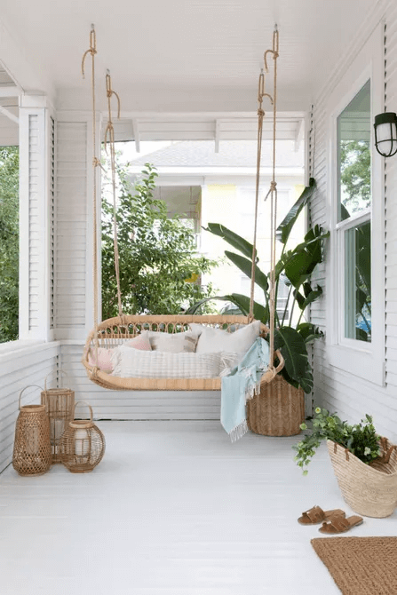 RELAXING BOHO CHIC FOR SMALL FRONT PORCH DESIGN IDEAS