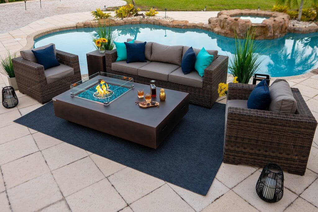 AKOYA Patio Set with Fire Pit Table