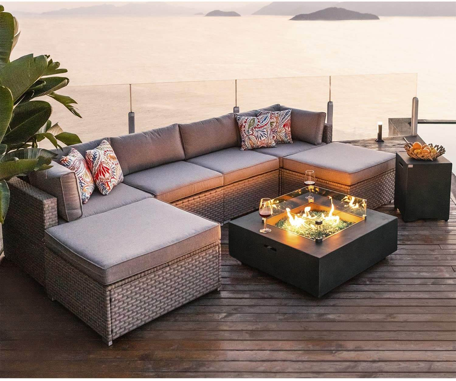 Awesome Cosiest 8 Piece Patio Set with Fire Pit