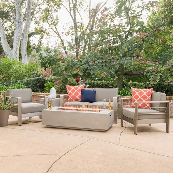Claudia 5 Piece Patio Set with Fire Pit