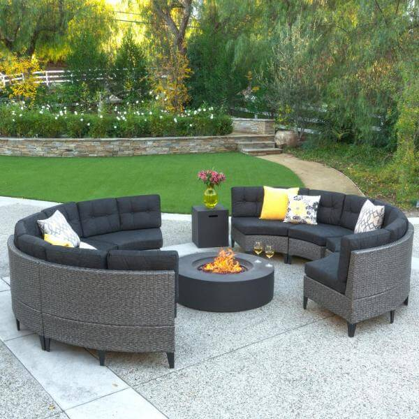 Noble House Circular Patio Set with Fire Pit