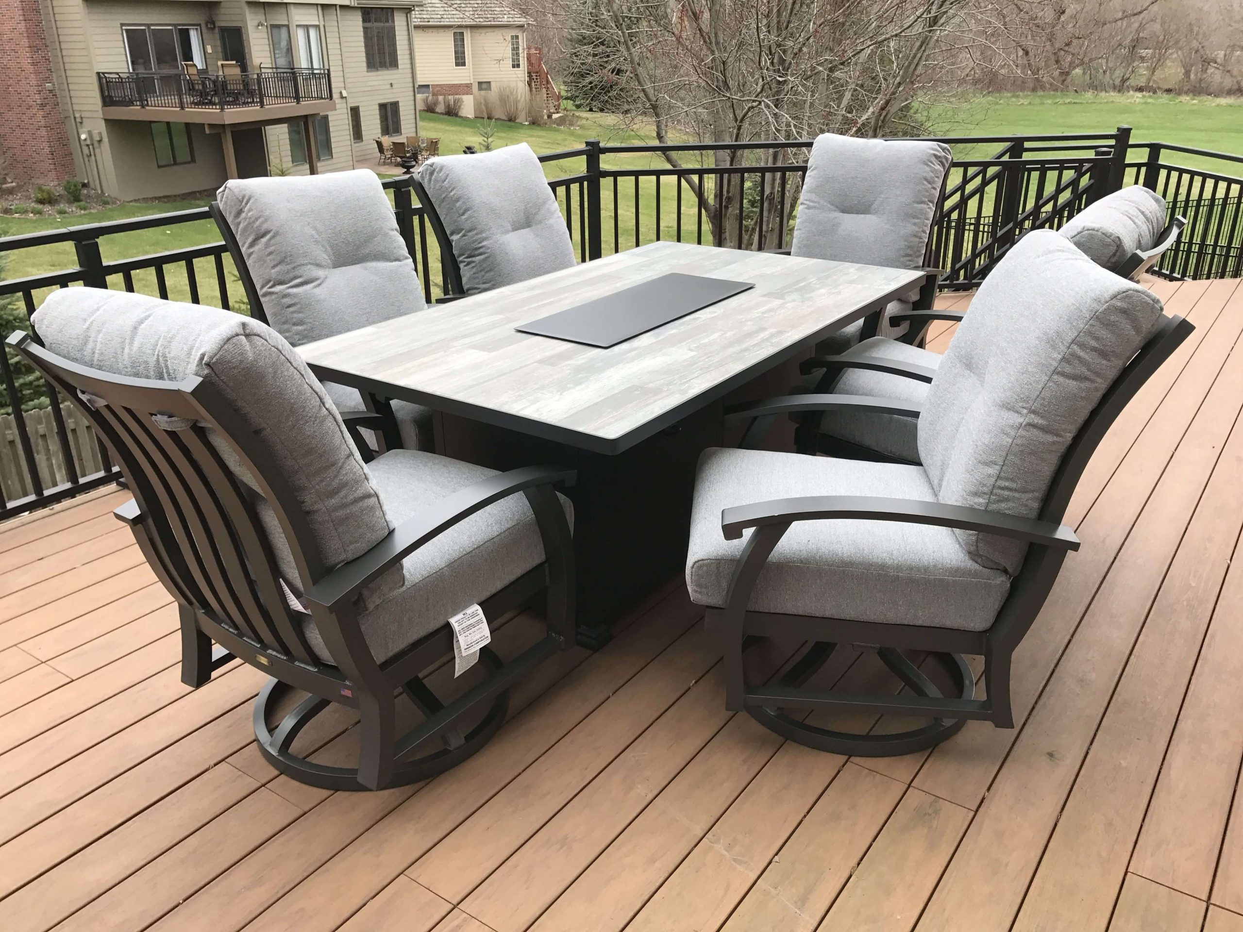 O. W. Lee Gray Patio Set with Fire Pit