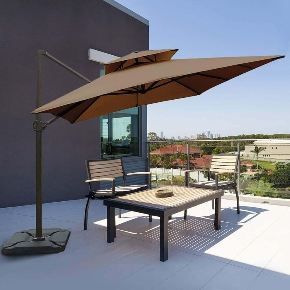 RECTANGULAR OFFSET CANTILEVER UMBRELLA DUAL WIND VENT PATIO HANGING