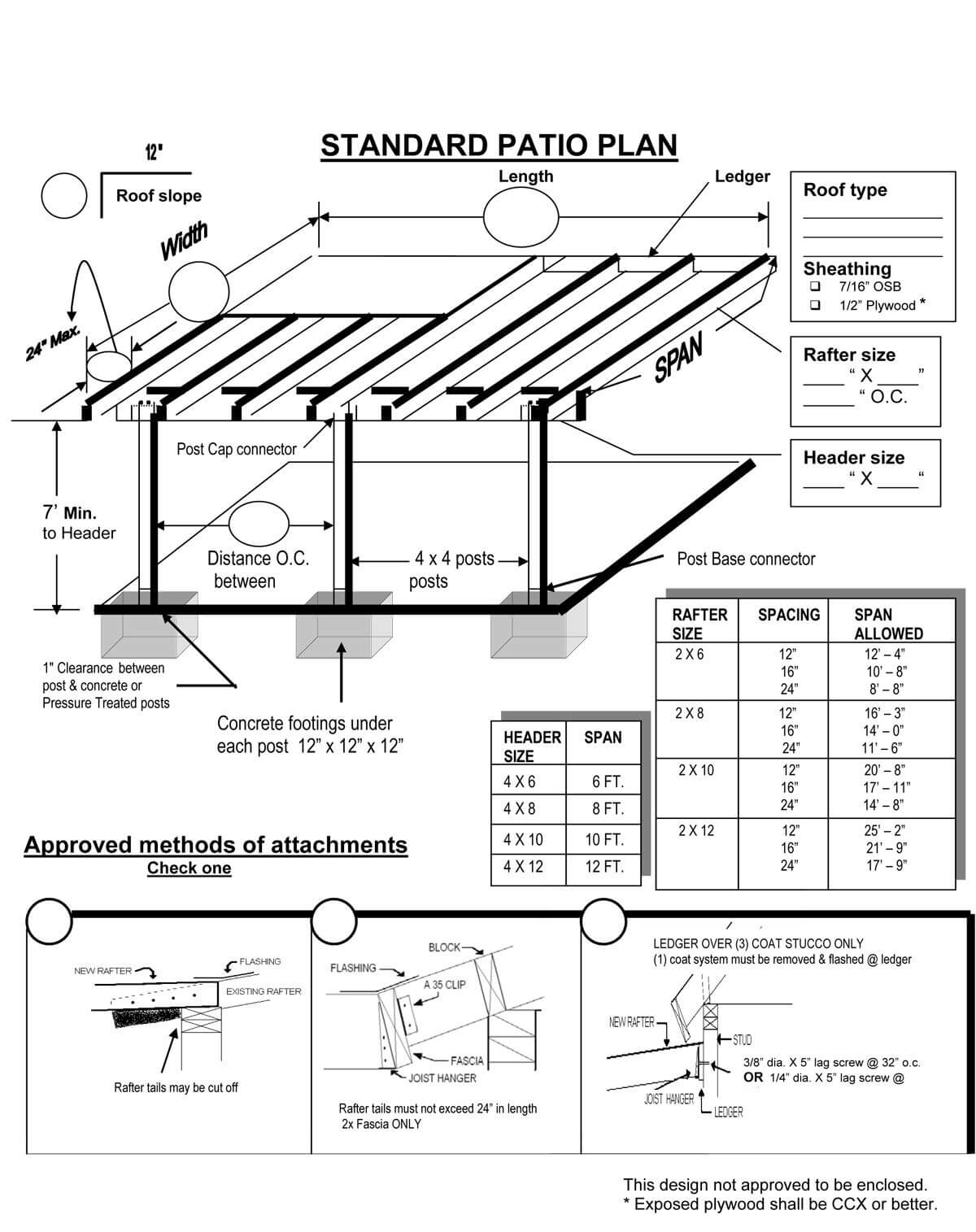 STANDARD PATIO PLAN BEFORE BUILD PATIO COVER