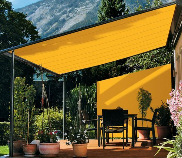 SUN SHADE FOR PATIO IDEAS WITH RETRACTABLE FABRIC AWNING