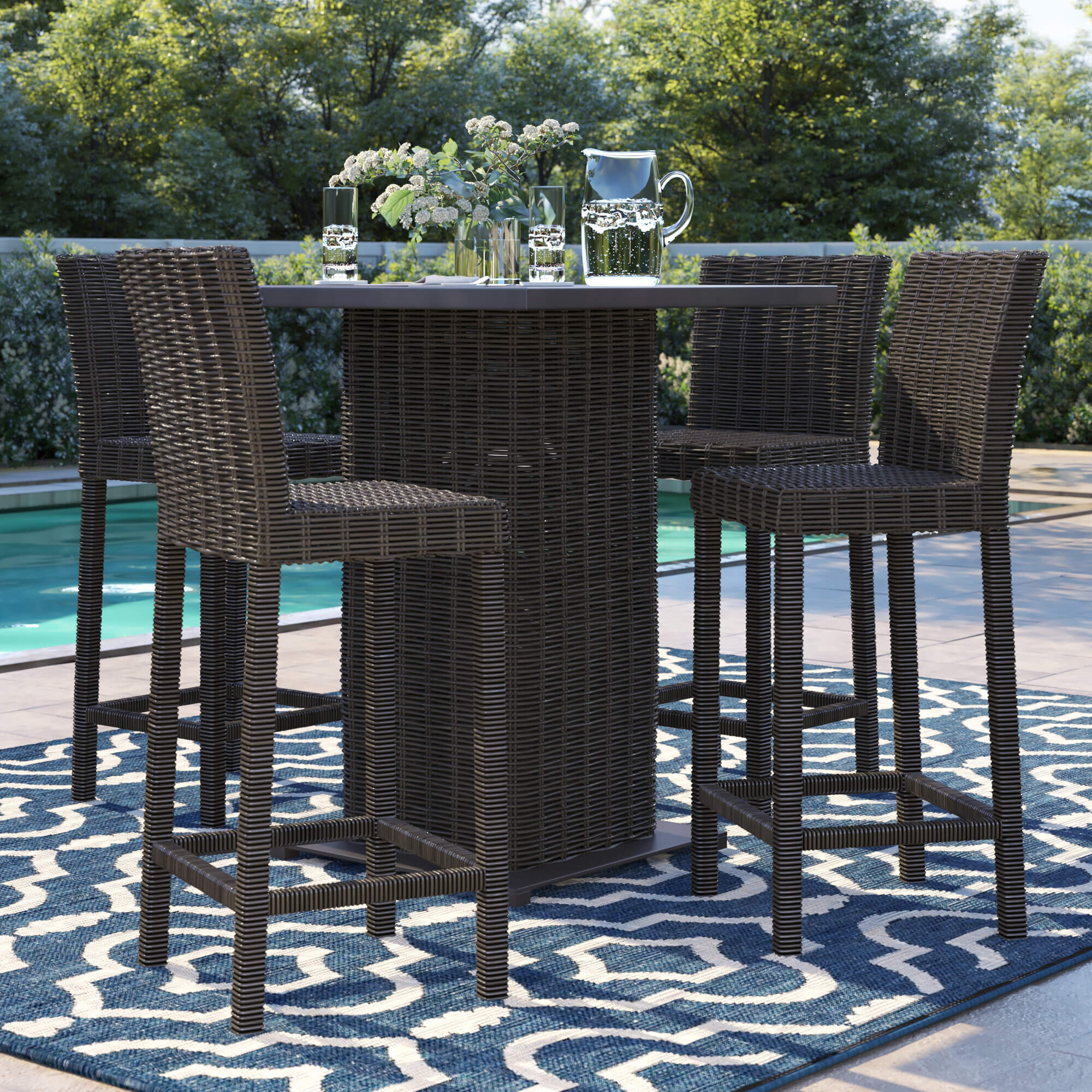 ARTIFICIAL WICKER AND RATTAN OUTDOOR BAR HEIGHT PATIO TABLE