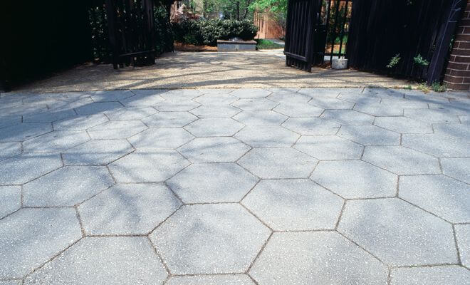 BRICK OR HONEY COMB TILES STAMPED CONCRETE PATIO IDEAS