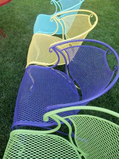 COLORFUL WROUGHT IRON PATIO CHAIRS