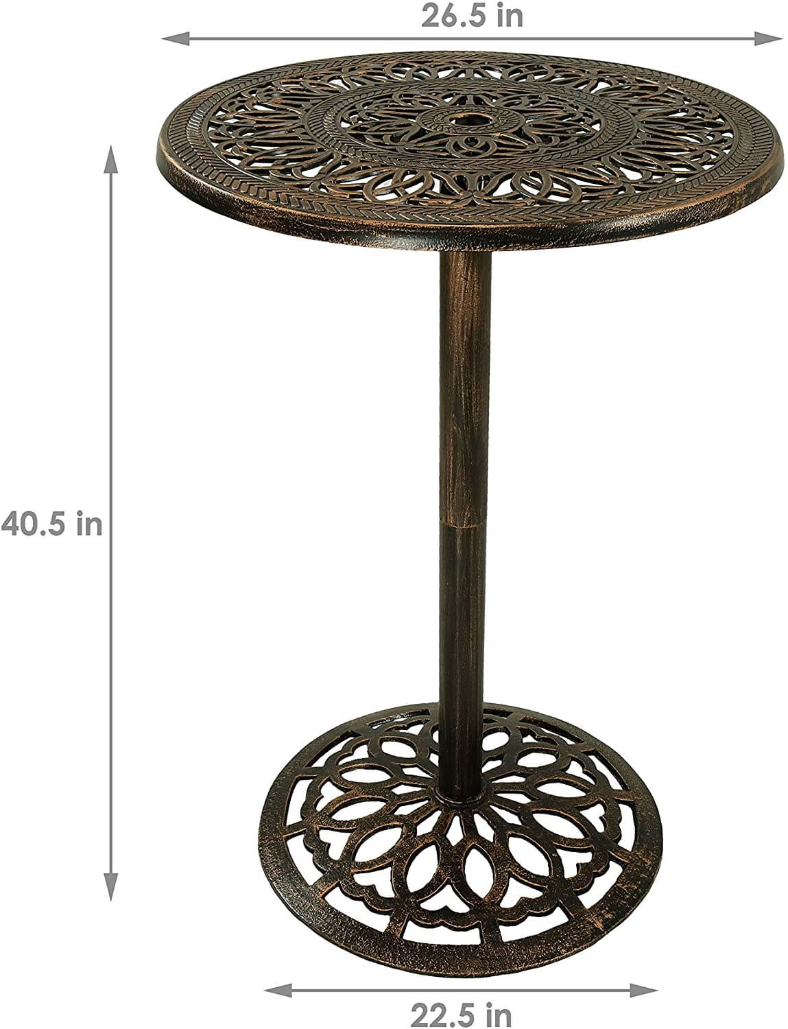 THE SIZE OF BAR HEIGHT PATIO TABLE