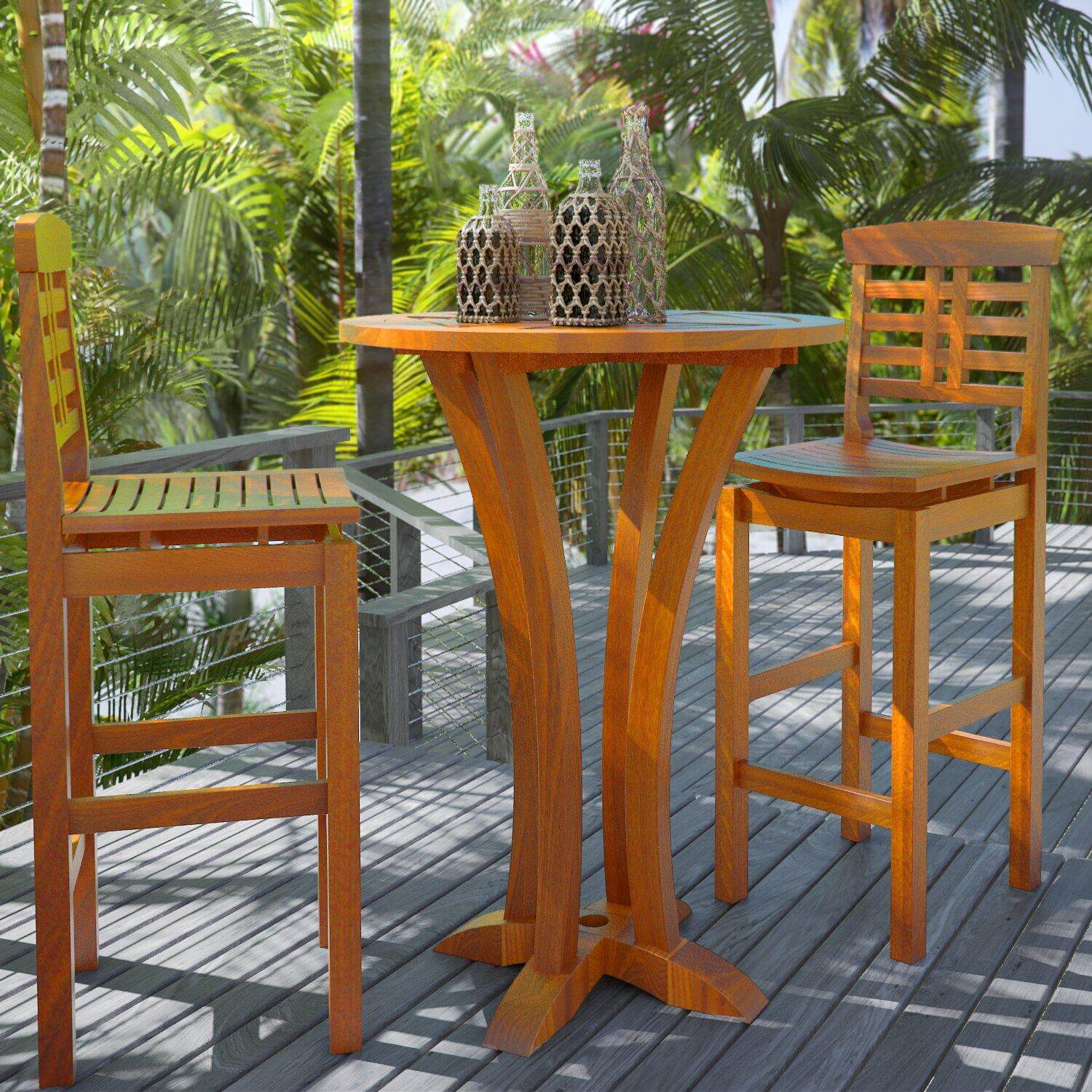 WOOD OUTDOOR BAR HEIGHT PATIO TABLE