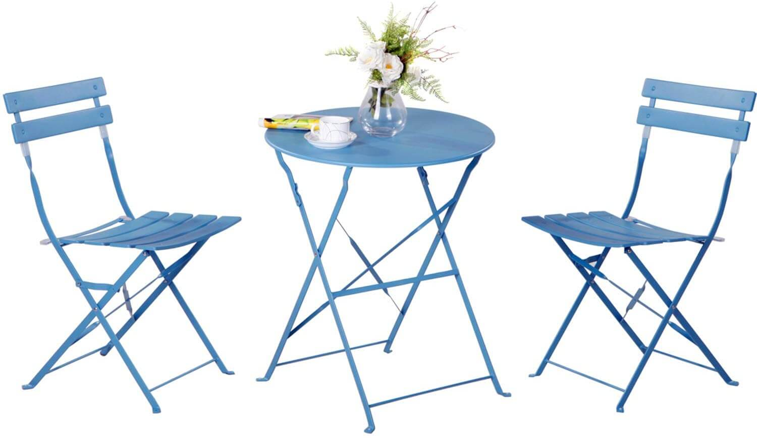 PRETTY BLUE FOLDING PATIO TABLE AND CHAIRS DESIGN IDEAS