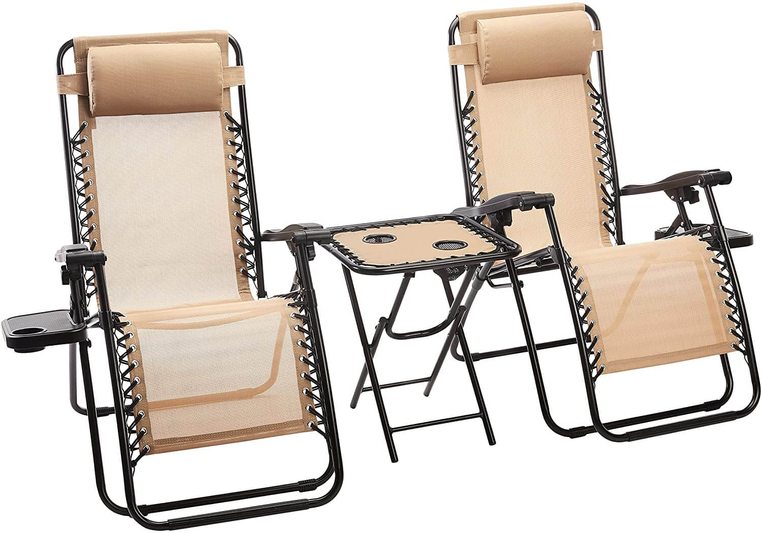 SIDE PATIO TABLE AND ZERO GRAVITY CHAIRS DESIGN IDEAS