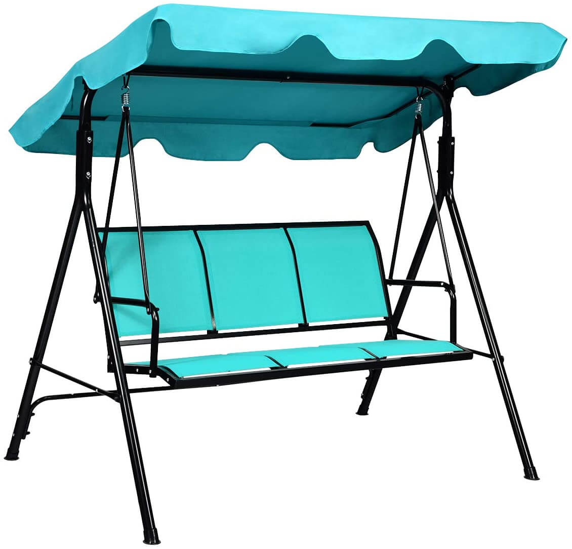 3 PERSON PATIO SWING WITH CANOPY SIMPLE AND ELEGANT