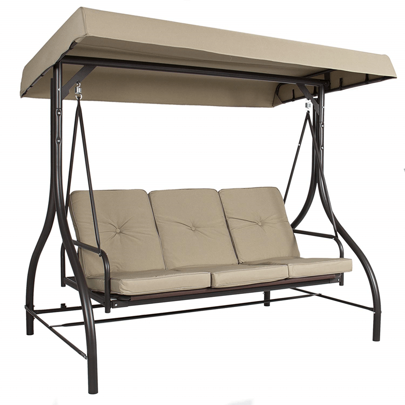 3 PERSON PATIO SWING WITH CANOPY TAN UPHOLSTERY