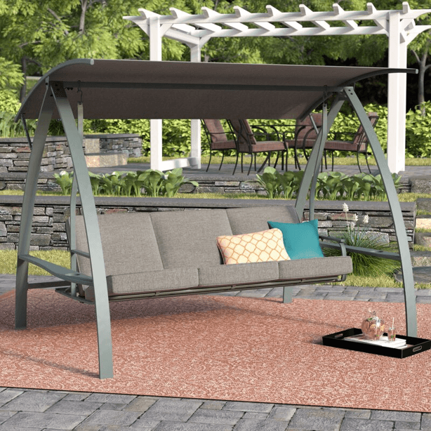 CUSHIONED STEEL METAL FRAME 3 PERSON PATIO SWING WITH CANOPY