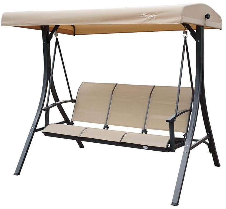SIMPLE 3 PERSON PATIO SWING WITH CANOPY NO CUSHIONS