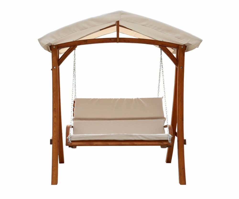 WOOD 3 PERSON PATIO SWING WITH CANOPY