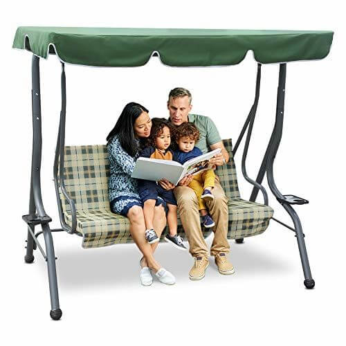 ZUPAPA HOMEY DESIGN 3 PERSON PATIO SWING WITH CANOPY