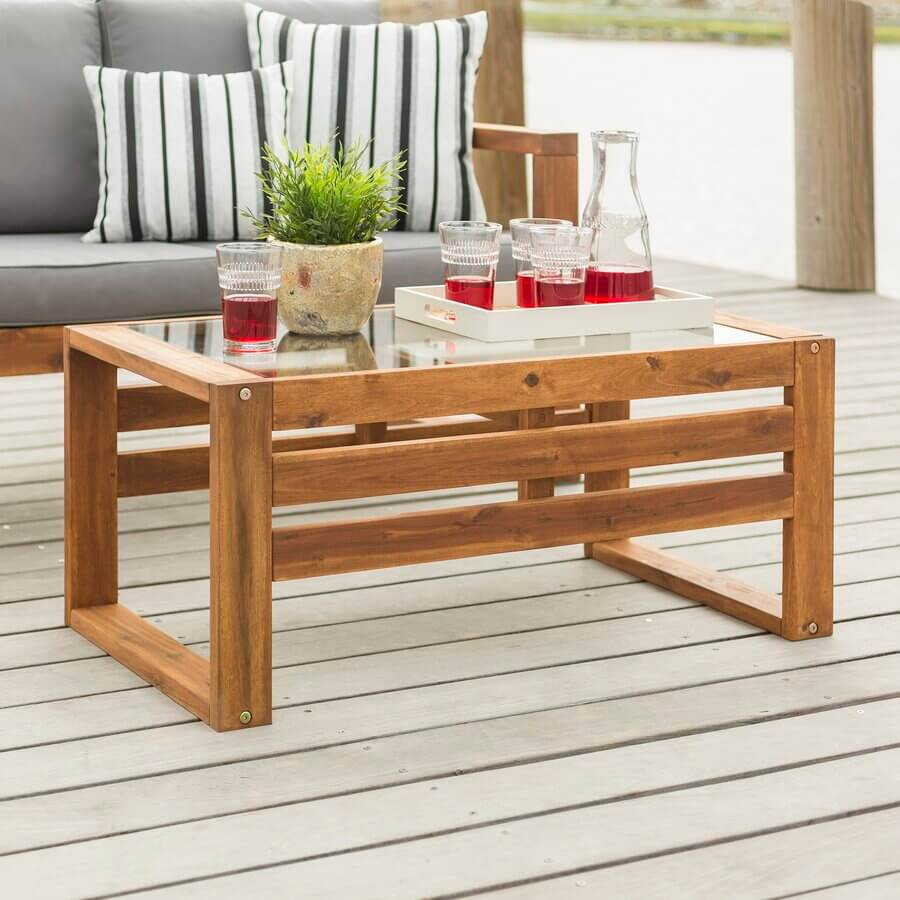 ACACIA WOOD AND GLASS TOP PATIO TABLE