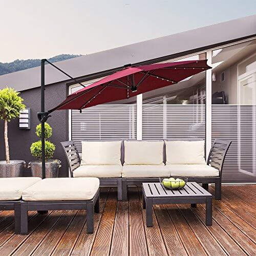 ALL-IN PATIO UMBRELLA WITH SOLAR LIGHTS