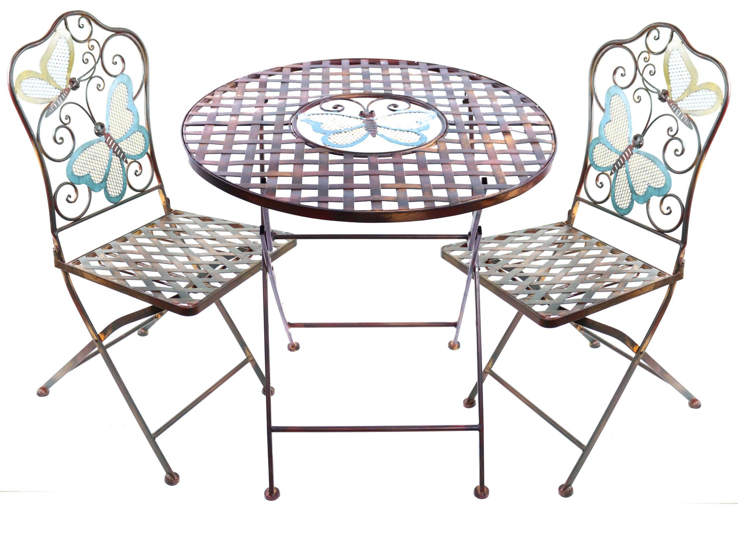 CHARMING BUTTERFLIES ROUND PATIO TABLE AND CHAIRS