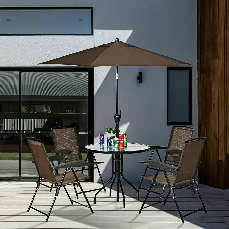 CLEAN AND PRACTICAL GLASS TOP PATIO TABLE