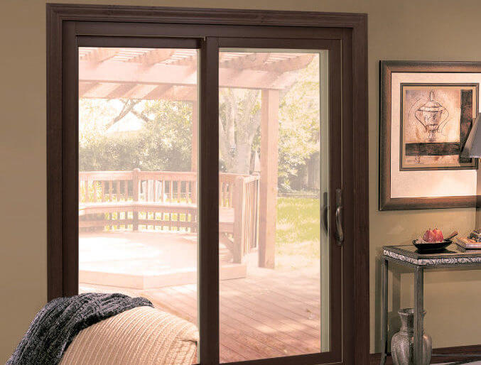 DELUXE SLIDING PATIO DOORS WITH BUILT IN AND FRAME PAIRED WITH INTERNAL BLINDS